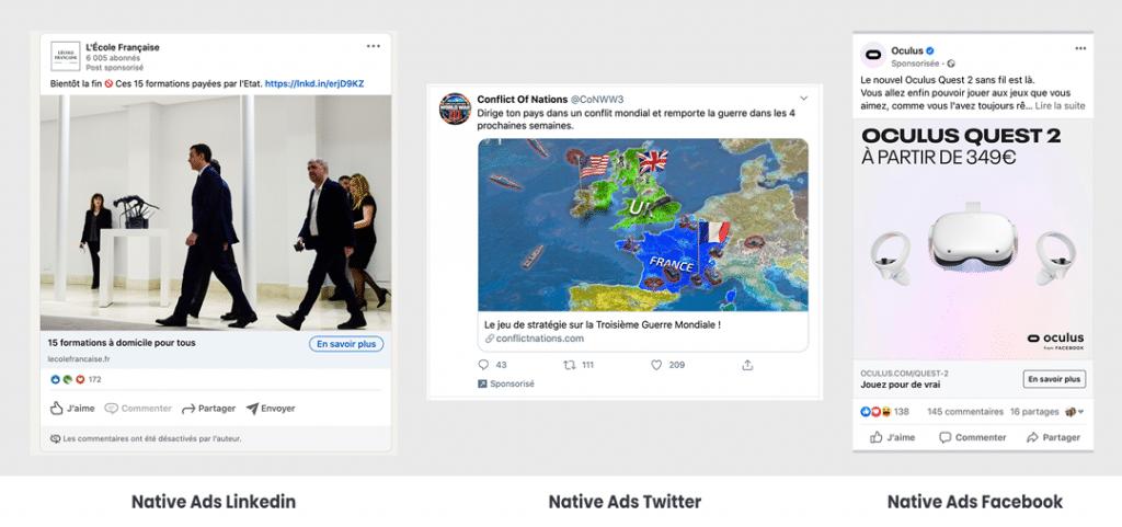 Exemples de publicités natives sur les réseaux sociaux