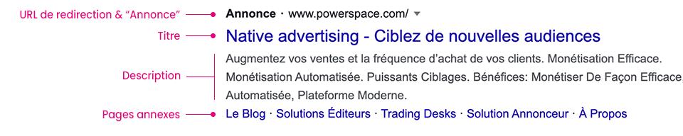 Exemple de native advertising dans les résultats de recherche Google