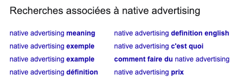 résultats de recherche Native Advertising