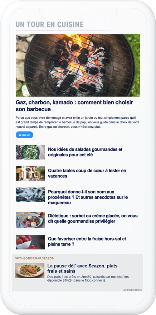 Newsletter exemple native ads Europe 1